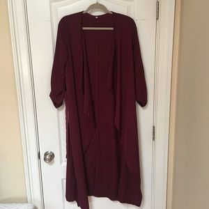 Burgundy Lapel Rolled Up Sleeve long outerwear